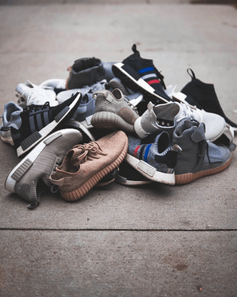 A large pile of shoes.